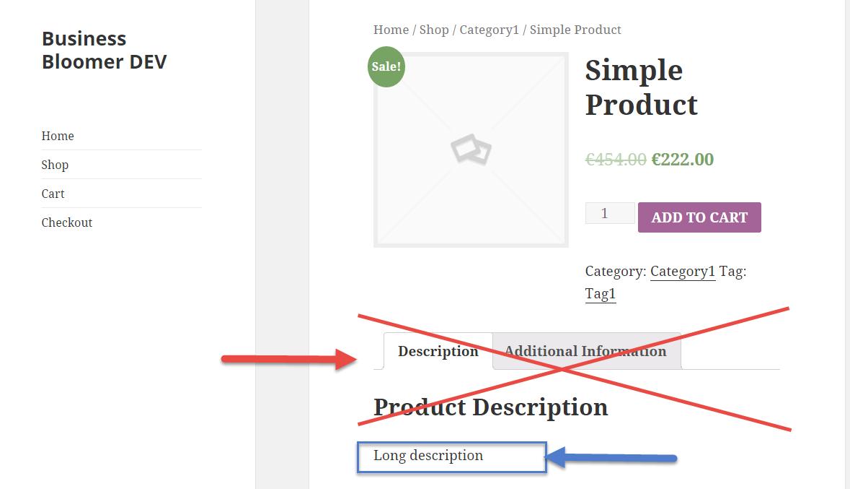woocommerce remove product tabs echo long description میز وردپرس